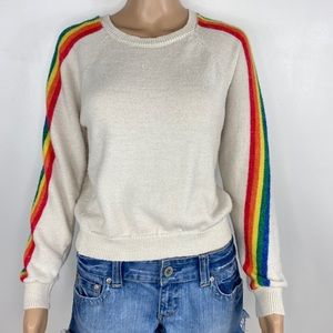 Cloud Chaser cream Rainbow Sweater size Large